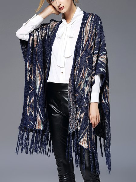 Blue H-line Cape Sleeve Poncho And Cape