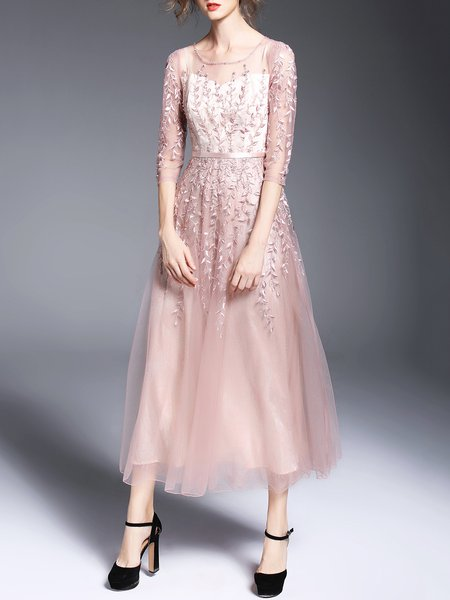 3/4 Sleeve Embroidered A-line Crew Neck Elegant Midi Dress