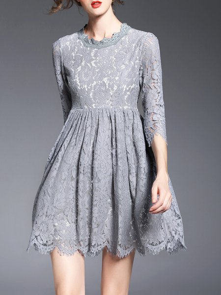 3/4 Sleeve Crew Neck Cocktail Lace Mini Dress