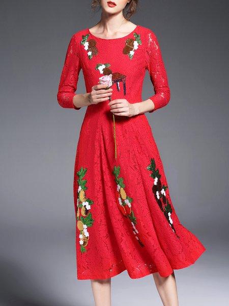 Elegant 3/4 Sleeve Glitter-finished Lace A-line Midi Dress