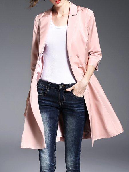 Pink Buttoned Plain Simple Coat