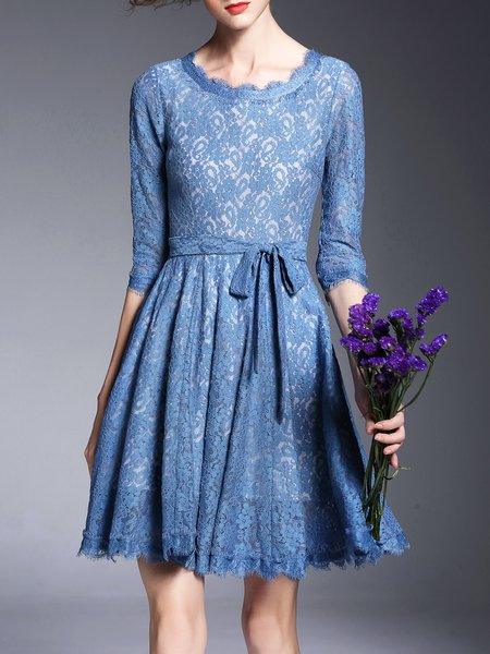 Blue Crew Neck Girly Lace Pierced Mini Dress