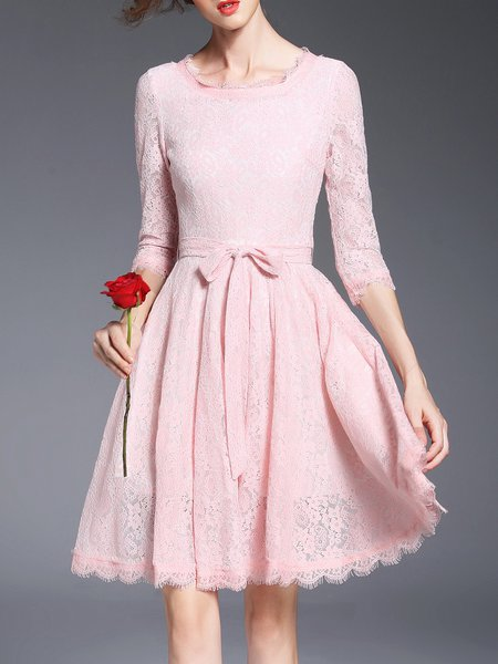 Pink Pierced 3/4 Sleeve Lace Crew Neck Mini Dress