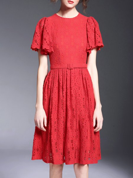 Red Short Sleeve Lace Pierced A-line Midi Dress