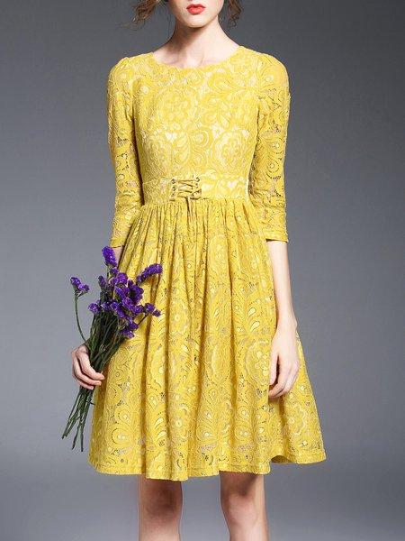 Yellow Crew Neck Crocheted Girly Midi Dress
