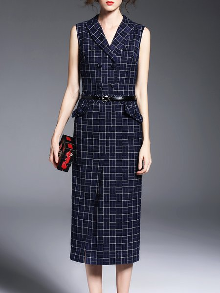 Polyester Sleeveless Sheath Work Printed Plaid Midi Dress