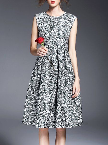 Green Sleeveless Jacquard Viscose A-line Midi Dress