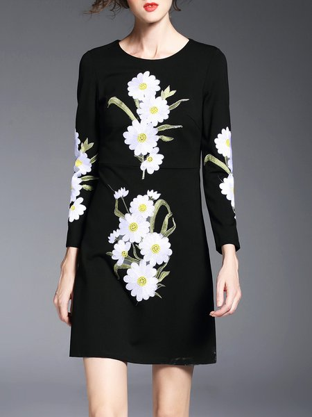 Long Sleeve Embroidered Casual Crew Neck Floral Mini Dress