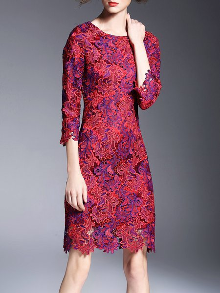 Floral Crew Neck 3/4 Sleeve Cocktail Polyester Midi Dress
