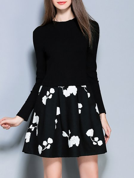 Black Paneled  Floral Long Sleeve Mini Dress