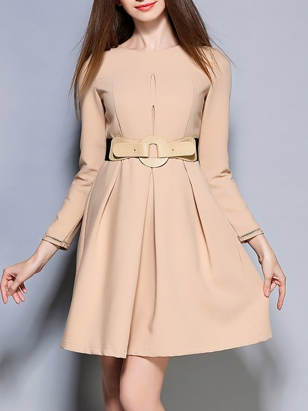 Apricot Plain Crew Neck Elegant A-line Midi Dress