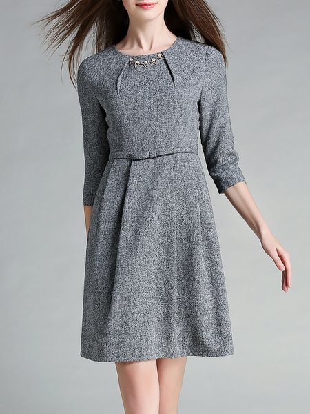 Gray 3/4 Sleeve Plain A-line Midi Dress