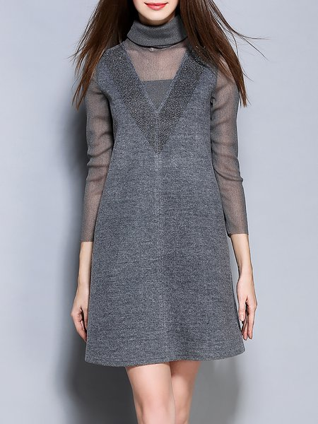 Gray A-line Elegant Paneled Turtleneck Mini Dress