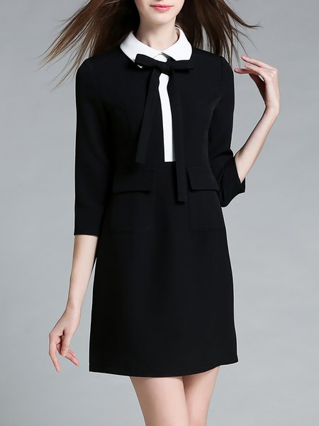 Black Plain 3/4 Sleeve Polyester Bow Mini Dress