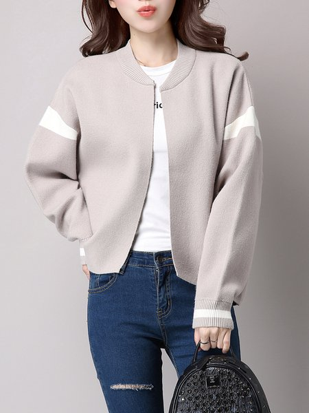 Open Front Knitted Casual Cardigan