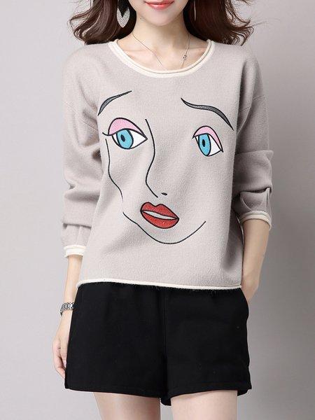 Printed Casual Crew Neck Sweatshirt