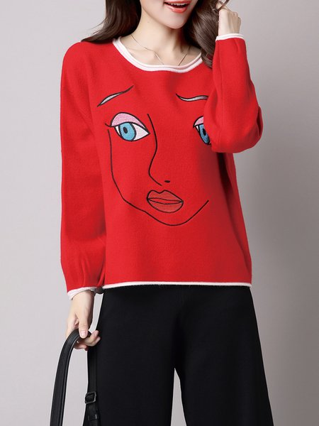 Crew Neck Casual Printed Sweatshirt