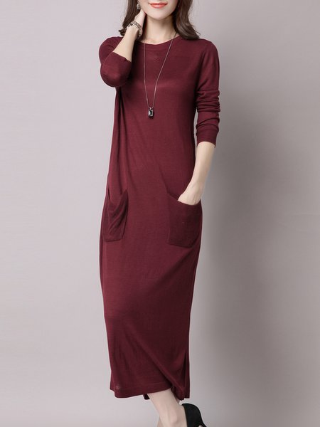 Plain Casual Long Sleeve Pockets Midi Dress