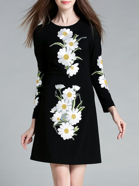 Black Floral Embroidered Long Sleeve Mini Dress