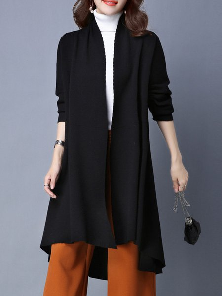 Black Knitted Simple H-line Cardigan