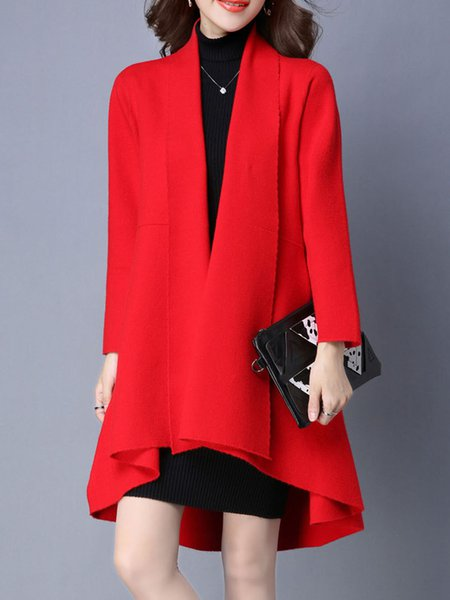 Red Plain Knitted Simple Cardigan