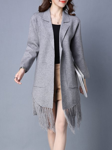 Solid Fringed Long Sleeve Casual H-line Coat