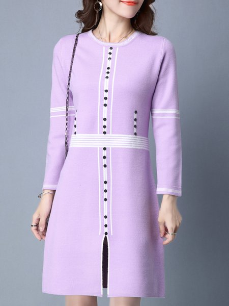 Casual Crew Neck Long Sleeve Knitted Sweater Dress