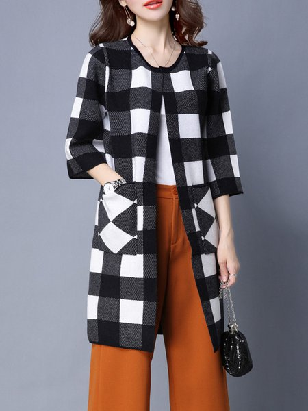 Knitted Pockets Crew Neck Checkered/Plaid 3/4 Sleeve Coat