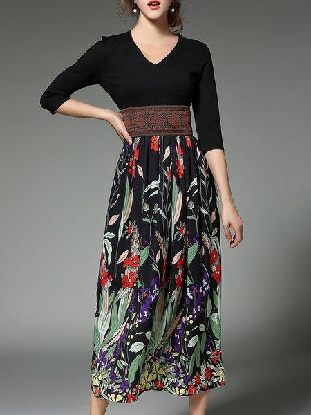 V Neck 3/4 Sleeve Casual Floral-print Midi Dress