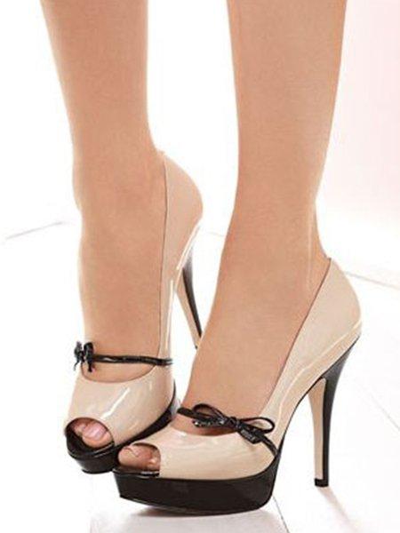 Beige PU Casual Stiletto Heel Spring/Fall Color Block Heels