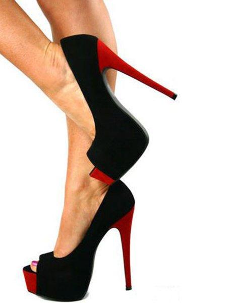 Black Suede Color Block Stiletto Heel Heels