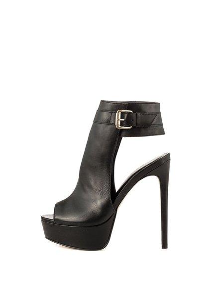 Black Stiletto Heel Buckle Casual PU Spring/Fall Heels