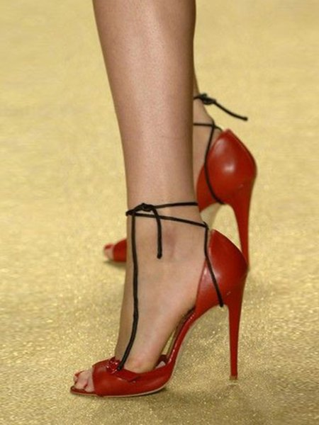 Red PU Casual Stiletto Heel Summer Lace-up Heels