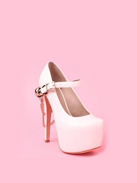White Buckle PU Spring/Fall Heels
