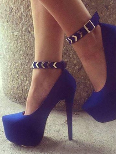 Royal Blue Suede Platform Buckle Heels