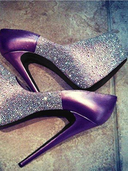 Purple Color Block PU Summer Heels