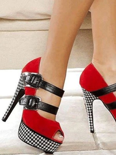 Red Summer Buckle Suede Heels