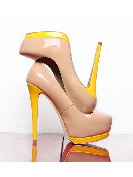 Summer Patent Leather Color Block Heels