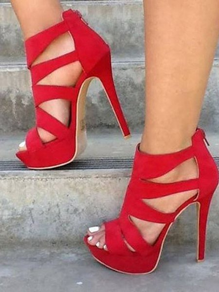 Red Suede High Heel Summer Hollow-out Heels