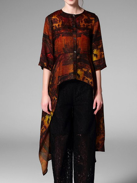 Multicolor High Low Silk Printed 3/4 Sleeve Tunic