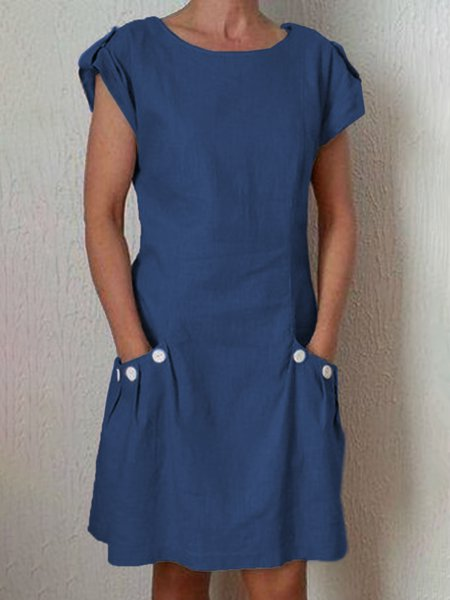 1970f17f58b Locatchic Sundress Casual Dresses Going Out Shift Round Neck Pockets ...