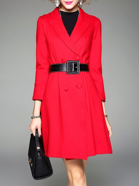 Red A-line Buttoned Plain Long Sleeve Coat With Belt