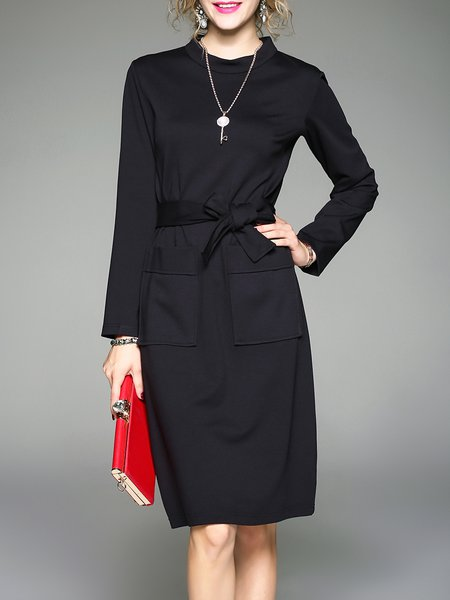Pockets Elegant Cotton Stand Collar Long Sleeve Midi Dress With Belt