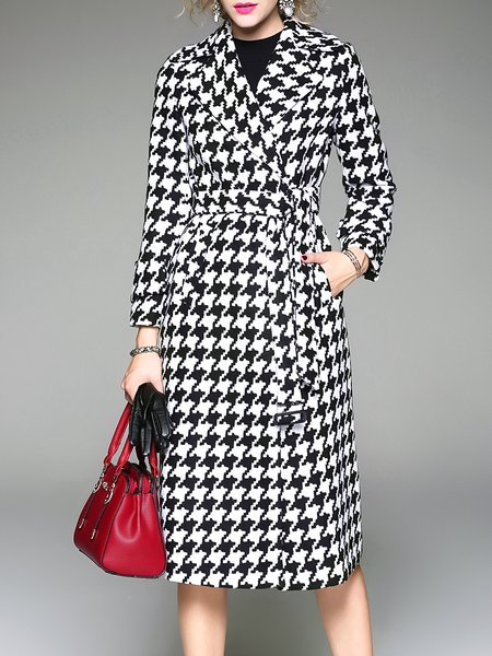 Lapel Pockets Long Sleeve Checkered/Plaid Simple Coat With Belt