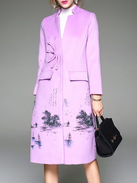Violet Long Sleeve Graphic Pockets Coat