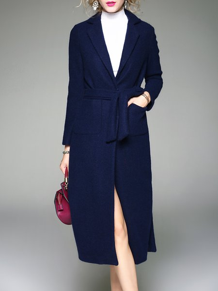 Navy Blue Long Sleeve Lapel Plain Buttoned Coat With Belt
