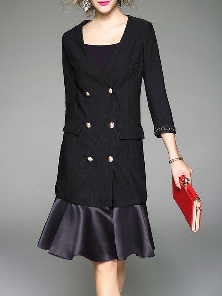 Black 3/4 Sleeve Paneled V Neck Buttoned Poclets Flounce Coat