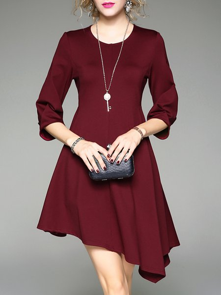 Wine Red Asymmetric Girly Crew Neck A-line Midi Dress
