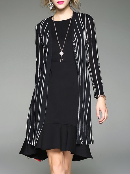 Two Piece Black Simple Stripes Slit Crew Neck Midi Dress