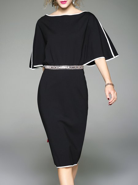 Black Batwing Sheath Binding Plain Midi Dress